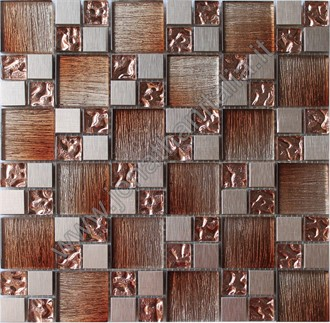 Texture Gold Wood - Crystal and aluminum mosaic.