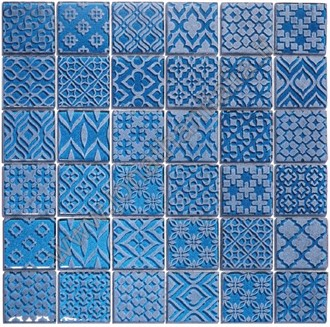Pattern Blu - Mosaico in cristallo inciso.