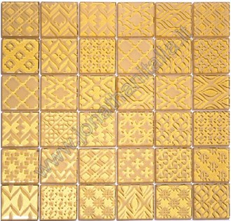 Pattern Oro - Mosaico in cristallo inciso.