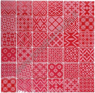 Pattern red - Carved crystal  mosaic.