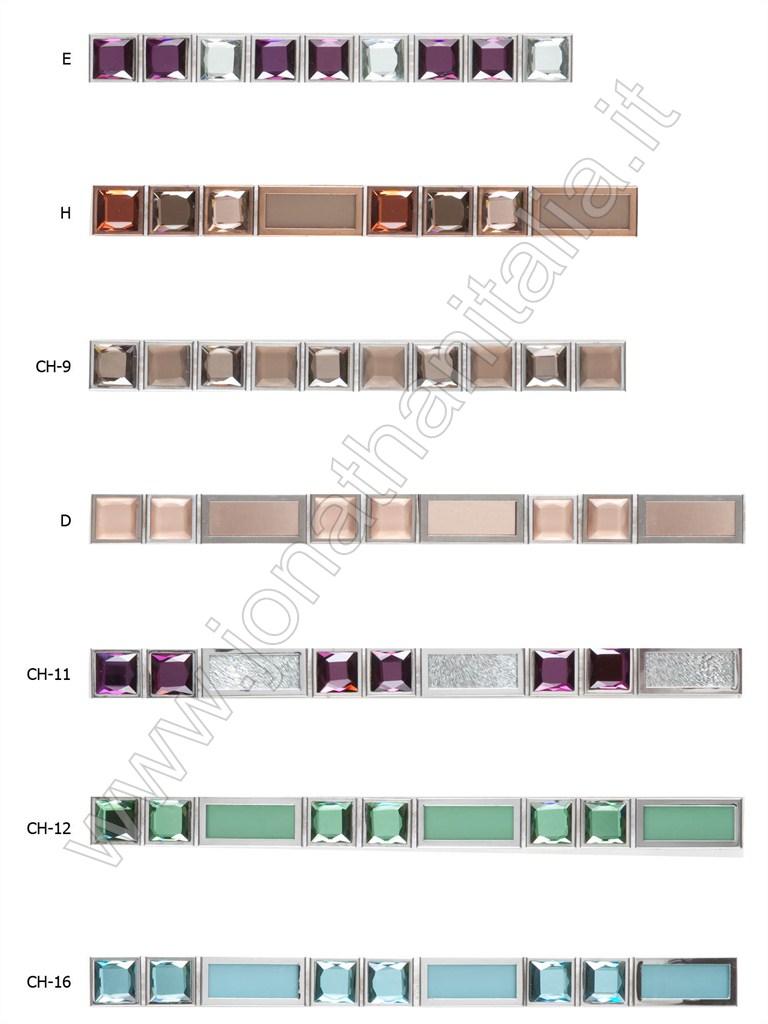 cristallo diamantatoe acciaio listelli in cristallo diamantato e acciaio
